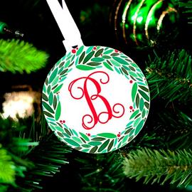 Holly Wreath Monogram Christmas Ornament