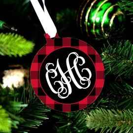 Black & Red Check Design Monogram Christmas Ornament