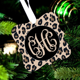 Leopard Design Monogram Christmas Ornament