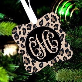Leopard Design Monogram Christmas Ornament