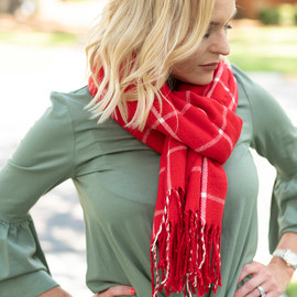 Soft Acrylic Scarf in Red Plaid