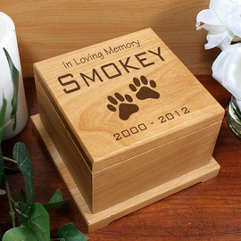 Paw Print Design Personalized Wooden Pet Urn
