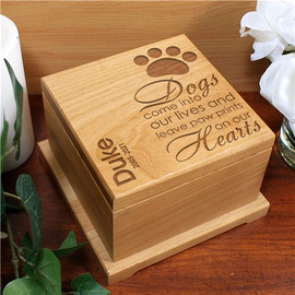 Paw Print Dog Memorial Poem Personalized Wooden Urn
