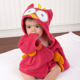 "Hot Pink ""My Little Night Owl"" Hooded Terrycloth Baby Bathrobe"