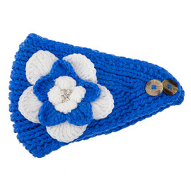 Royal Blue & White Crochet Flower Headwrap