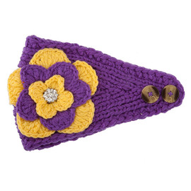 Purple & Gold Crochet Flower Headwrap