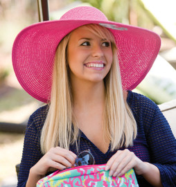 Hot Pink Embroidered  Adult Floppy Sun Hat