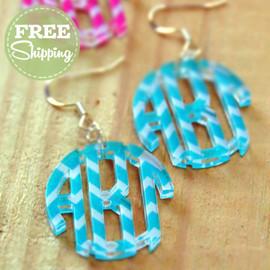 Chevron Circle Monogram Earrings - FREE Shipping