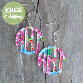 Mary Beth Goodwin Pattern Circle Monogram Earrings - FREE Shipping