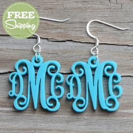 Engraved Vine Monogram Acrylic Earrings - FREE Shipping