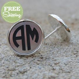Circle Monogram Engraved Earrings - FREE Shipping