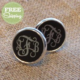 Engraved Vine Monogram Earrings - FREE Shipping