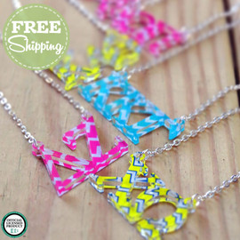Chevron Floating Greek Letter Necklace - FREE Shipping