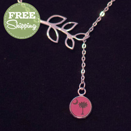 Silver Branch Engraved Coastal Life Icon Necklace - FREE Shipping