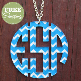 Chevron Circle Monogram Pendent Necklace - FREE Shipping