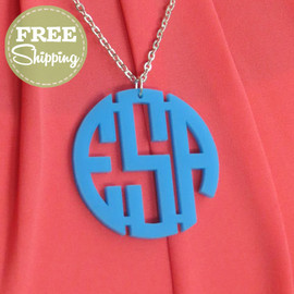 Acrylic Circle Monogram Pendent Necklace with FREE Shipping