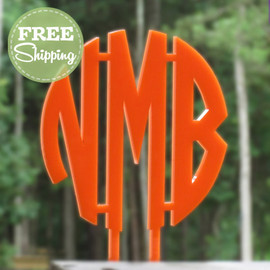 Custom Engraved Circle Monogram Cake Topper - FREE Shipping