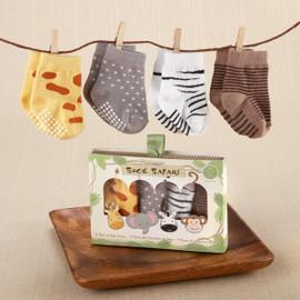 Sock Safari - 4 Pairs of Animal Baby Socks (Size 0-6 Months)