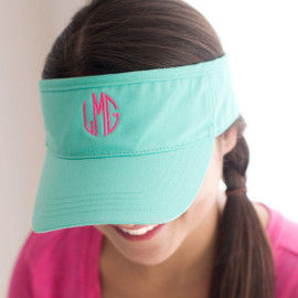 Mint Green Twill Cotton Visor with Embroidered Monogram