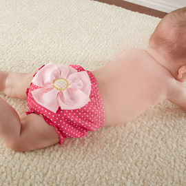 """Baby in Bloom"" Hot Pink Flower Baby Bloomer Diaper Cover"