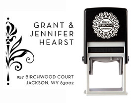 Self-Inking Personalized Address Stamp with Damask Design - CS3641