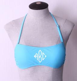 Light Blue Personalized Monogram Bandeau Swimsuit Top