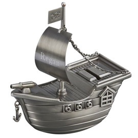 Pirate Ship Money Bank Piggy Bank Gift with Engraved Name