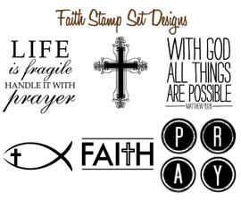 Set of 6 Mix & Match Faith Christian Stamp Designs