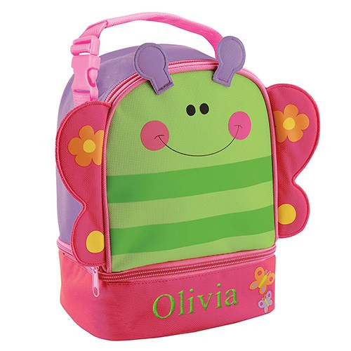 Butterfly Lunch Pal Embroidered Tote - School Lunch Box Bag for Preschool Girls (PGE000324)