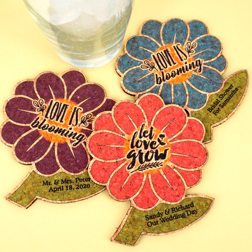 Personalized Spring Flower Personalized Wedding Cork Coasters