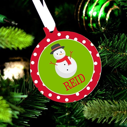 Personalized Snowman Design Christmas Ornament