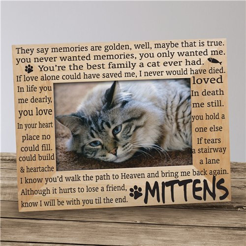 Engraved Cat Memorial Wooden Picture Frame