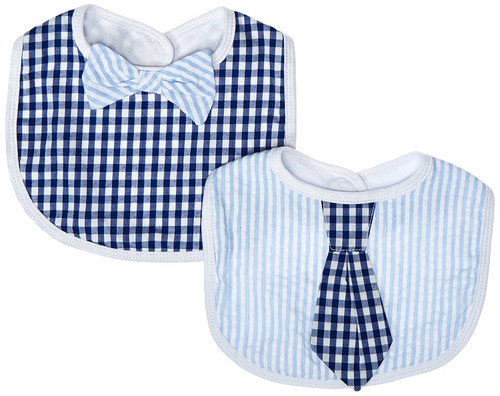 Little Man Gingham Tie & Bowtie Baby Bib Gift Set