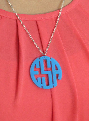 Acrylic Circle Monogram Pendent Necklace