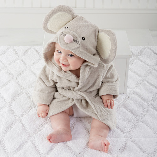 """""""Squeaky Clean"""" Mouse Hooded Baby Terrycloth Bath Spa Robe"""