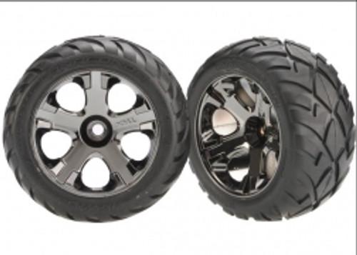 Tires & wheels, assembled, glued (All-Star black chrome wheels, Anaconda® tires, foam inserts) (nitro front) (1 left, 1 right)