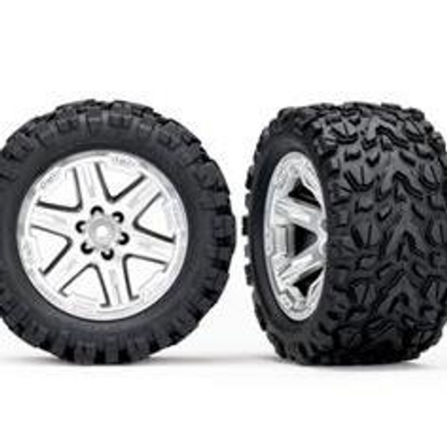 TRAXXAS 6773R - TIRES & WHEELS, ASSEMBLED, GLUED (2.8') (RXT SATIN CHROME WHEELS, TALON EXTREME TIRES, FOAM INSERTS) (2) (TSM RATED)