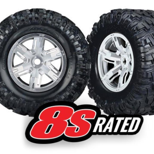 Traxxas 7772R - Tires & Wheels, Assembled, Glued (X-Maxx Satin Chrome Wheels, Maxx At Tires, Foam Inserts) (Left & Right) (2)