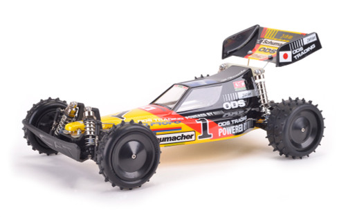 Schumacher CAT XLS Masami 1/10th Off Road The Schumacher CAT revolutionised off road racing when it was introduced in 1986, being years ahead of the competition.  It became an international success winning British, European, Japanese, Australian, and American championships.  It was updated with a longer wheelbase and Masami Hirosaka went on to win the 1987 1/10th 4WD IFMAR World Championships in Romsey, England.  We are now excited to offer this iconic replica of the car that Masami used to win the first of his many World Championships, and put Schumacher Racing on the map as a leading RC car manufacturer.  Roll over smaller images to get a larger view. Click to get very large image.              SupaStox GT Spare Parts    Instruction Manual   Exploded Diagram           CAT XLS Masami SpecificationEquipment Needed     2 Channel Radio Motor Servo Electric Speed Control Motor Pinion Battery Paint    Power Source:ELECTRIC Model Type:4WD, OFF-ROAD, COMPETITION Length:390mm Wheelbase:280mm Width:244mm Top Speed:40 MPH+ Features     Ball differentials, which had been invented by Cecil Schumacher in 1978. Unique integrator system offering adjustable torque split between front and rear. Double wishbone suspension with massive travel. Alloy coil over oil filled shock absorbers. Huge steering lock to handle the tightest tracks. Front O ring 'crashback' system to minimise front end crash damage. Compact design with low polar moment of inertia and low centre of gravity gives the CAT remarkable manoeuvrability and balance. Tough polycarbonate bodyshell and undertray to keep out the dirt. Original Schumacher spiked tyres. Accepts period nicad/nimh batteries or modern shorty lipos. Accepts brushed or brushless motors. (Maximum 17.5T limit with kit transmission) Optional Transmission upgrade available to handle modern high powered motors, and create a class leading buggy for historic RC racing.