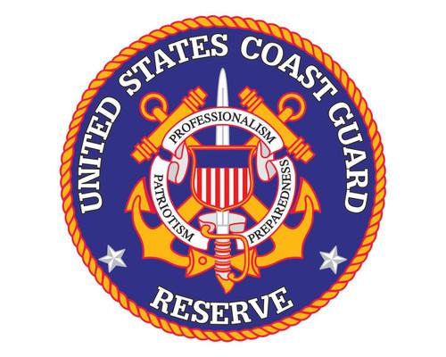 Coast Guard Reserve Emblem USCG Reserve Logo Round Vinyl Decal Sticker for Cars Trucks Laptops etc...
