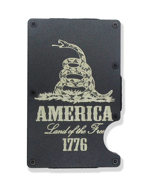 America 1776 Land of the Free Wallet Custom Engraved RFID Blocking Thin Card Organizer w/ Money Clip