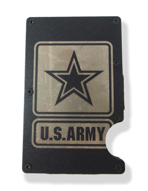 ARMY Wallet Custom Engraved RFID Blocking Thin Card Organizer w/ Money Clip