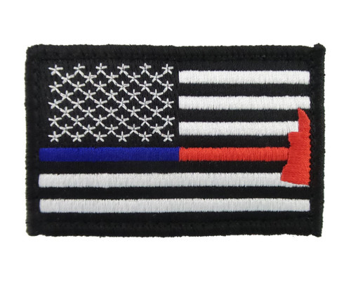 Police & Firefighter Axe Thin Blue & Red Line Tactical Velcro Fully Embroidered Morale Tags Patch