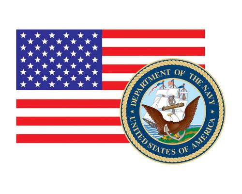 American Flag with Navy Seal USN Logo Vinyl Decal Sticker for Cars Trucks Laptops etc. 3.22x5 …