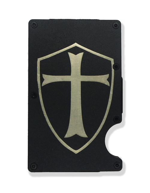 Templar Shield Wallet Custom Engraved RFID Blocking Thin Card Organizer w/ Money Clip