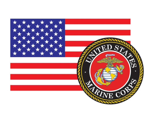 American Flag with Marine Corps Seal USMC 3.22x5 Vinyl Decal Sticker for Cars Trucks Laptops etc...