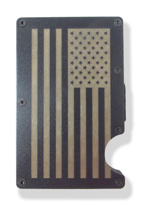 American Flag USA Wallet Engraved RFID Blocking Thin Card Organizer w Money Clip