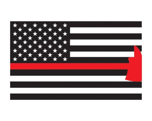 """Firefighter Axe Flag Window Decal 3x5"""" Vinyl Sticker"""