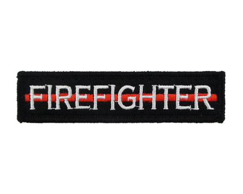 Firefighter Thin Red Line 1x4 Velcro Fully Embroidered Morale Tags Patch