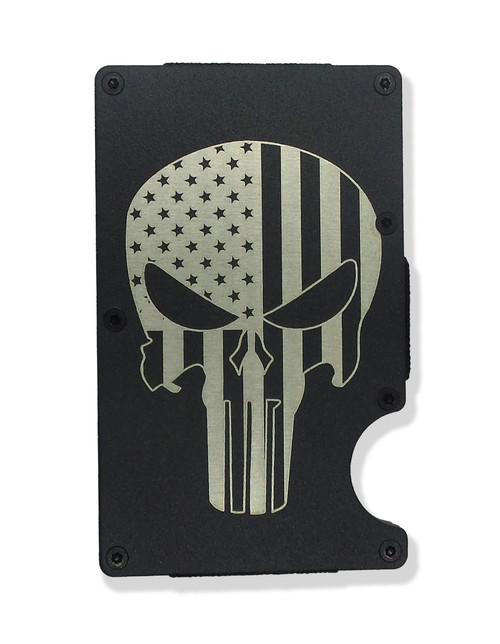 Skull American Flag Overlay Wallet Custom Engraved RFID Blocking Thin Card Organizer w/ Money Clip